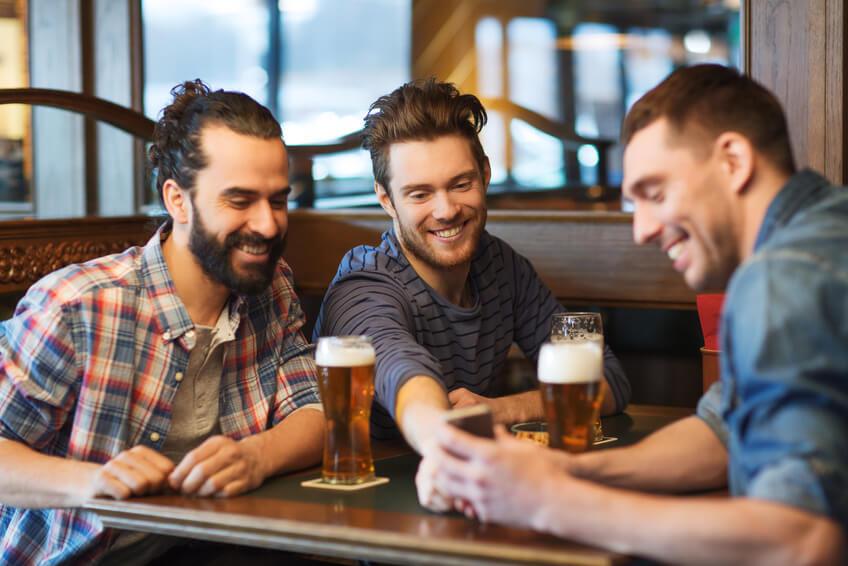 drinking beer at bar